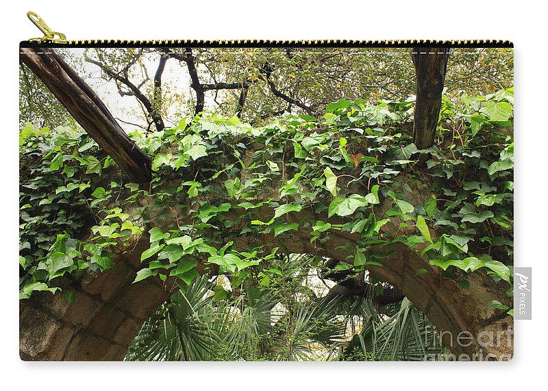 Ivy-covered Carry-all Pouch featuring the photograph Ivy-covered Arch At The Alamo by Carol Groenen