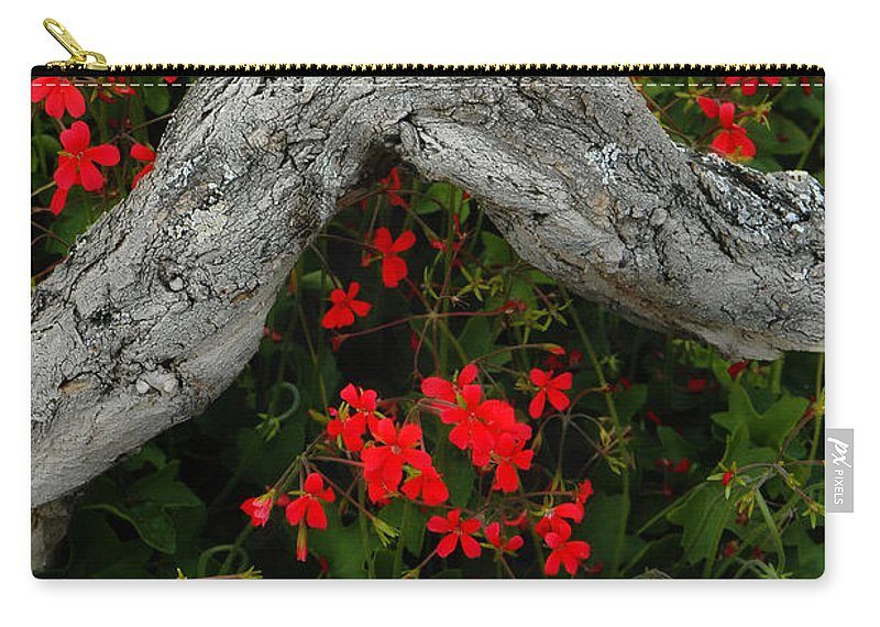 Geranium Carry-all Pouch featuring the photograph Ivy Geraniums And Log by Mike Nellums