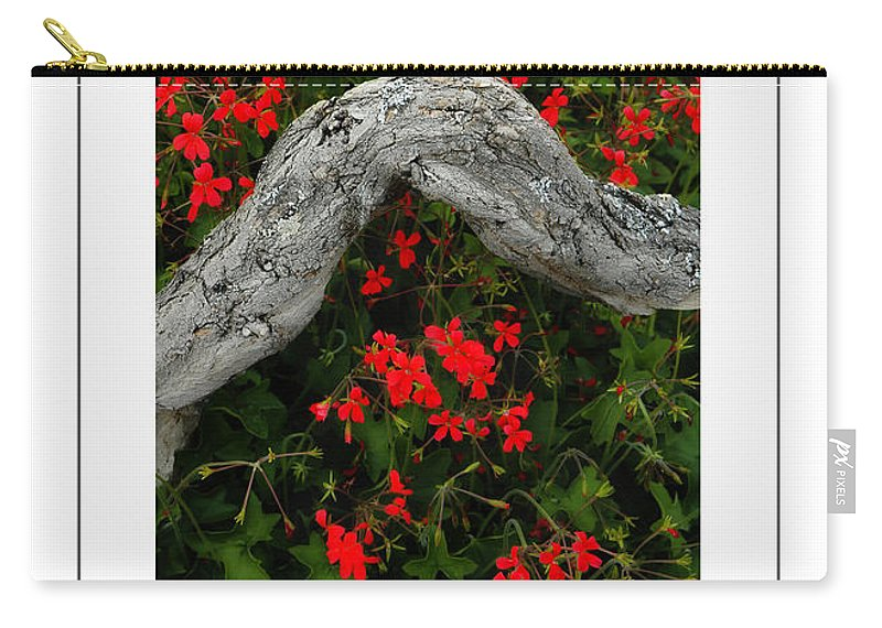 Geranium Carry-all Pouch featuring the photograph Ivy Geraniums And Log Poster by Mike Nellums