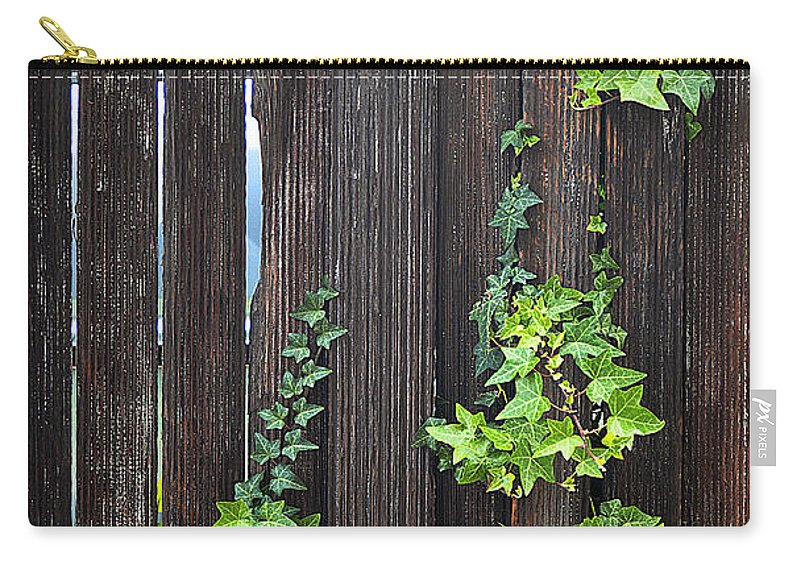 Clay Carry-all Pouch featuring the photograph Ivy On Fence by Clayton Bruster