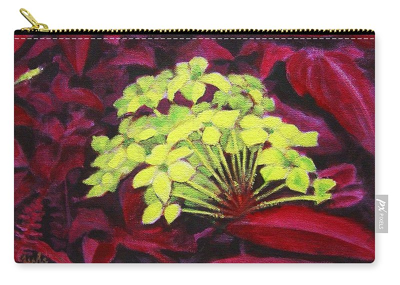 Foliage Carry-all Pouch featuring the painting Ixora - Jungle Flame by Usha Shantharam