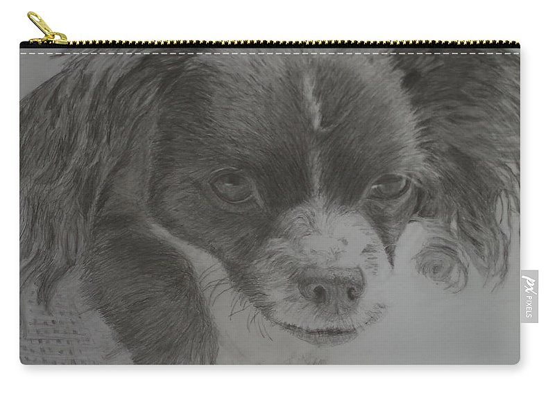 Dog Carry-all Pouch featuring the drawing Izzy by Linda McMillen