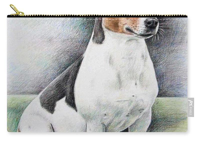 Dog Carry-all Pouch featuring the drawing Jack Russell Terrier by Nicole Zeug