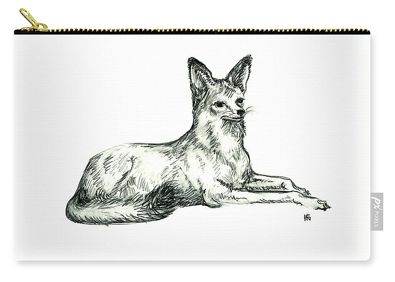 Wild Carry-all Pouch featuring the drawing Jackal Sketch by Shirley Heyn