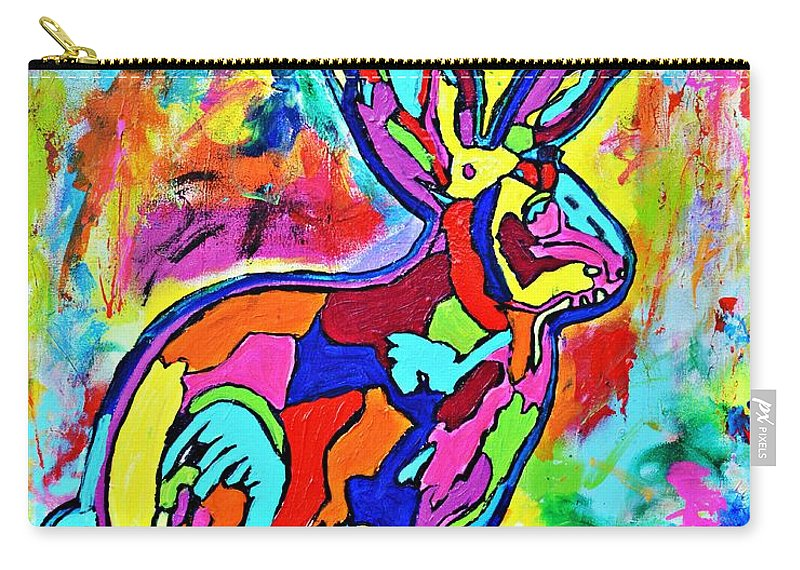 Nicole Gavin Art Carry-all Pouch featuring the painting Jackalope by Nicole Gavin