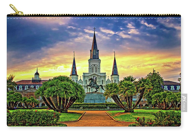 French Quarter Carry-all Pouch featuring the photograph Jackson Square Evening by Steve Harrington