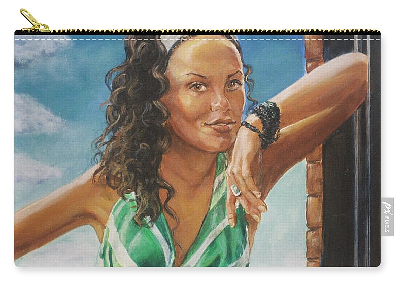 Jade Anderson Carry-all Pouch featuring the painting Jade Anderson by Bryan Bustard