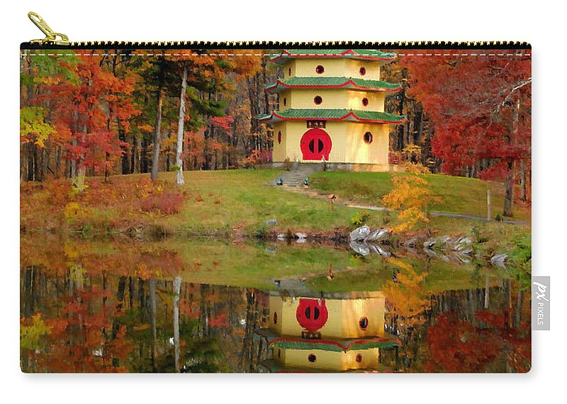 Jade Buddha Pagoda Carry-all Pouch featuring the painting Jade Buddha Pagoda 4 by Jeelan Clark
