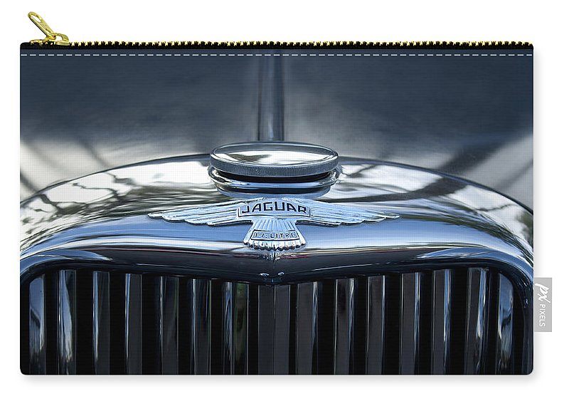 Jaguar Carry-all Pouch featuring the photograph Jaguar Hood Ornament by Jill Reger