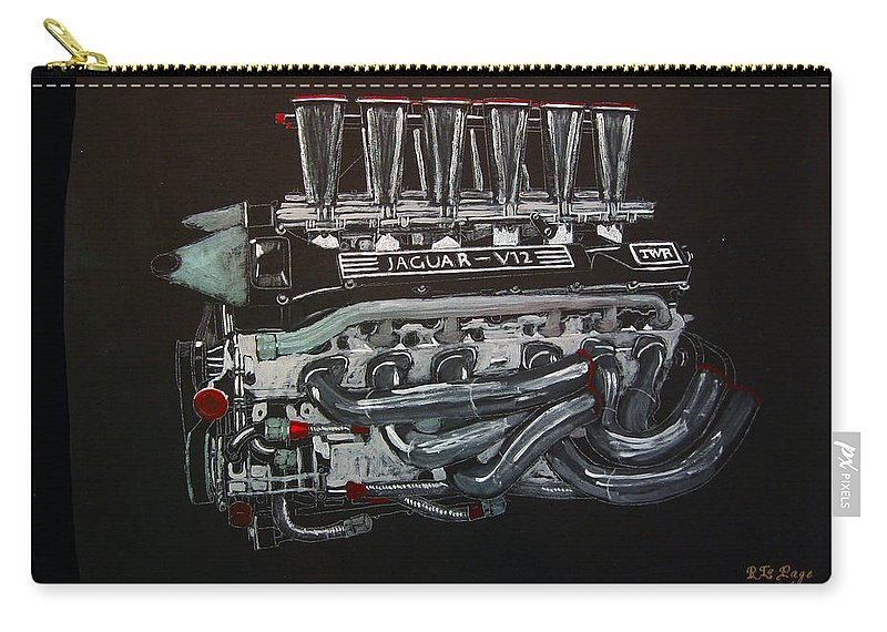 Jaguar Carry-all Pouch featuring the painting Jaguar V12 Twr Engine by Richard Le Page