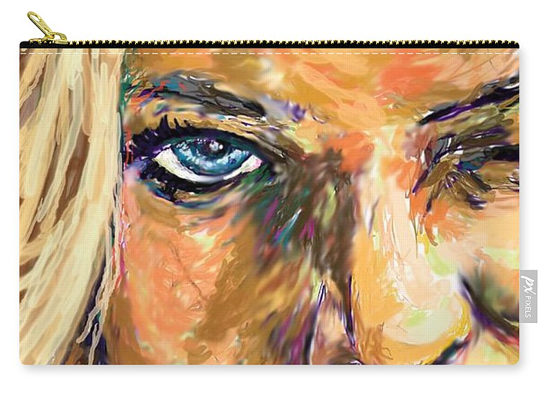 Jaime Pressly Carry-all Pouch featuring the painting Jaime Pressly by Travis Day