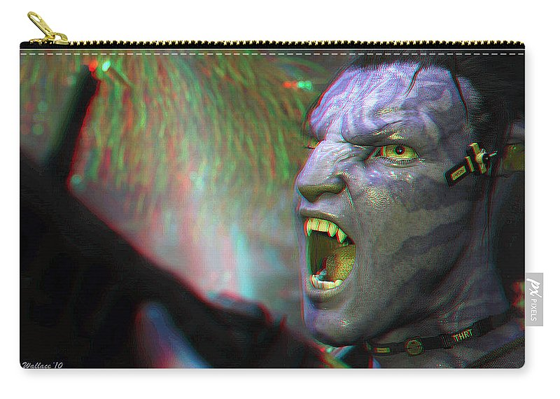 3d Carry-all Pouch featuring the photograph Jake Sully - Sam Worthington - Red-cyan 3d Glasses Required by Brian Wallace