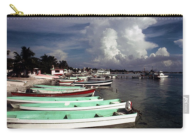 Fishing Carry-all Pouch featuring the photograph Jamaican Fishing Boats by Herman Robert