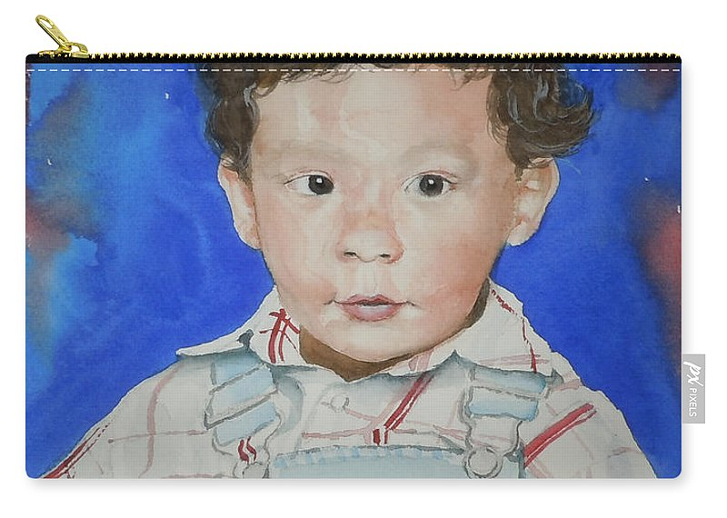 Boy Carry-all Pouch featuring the painting Jamal by Jean Blackmer