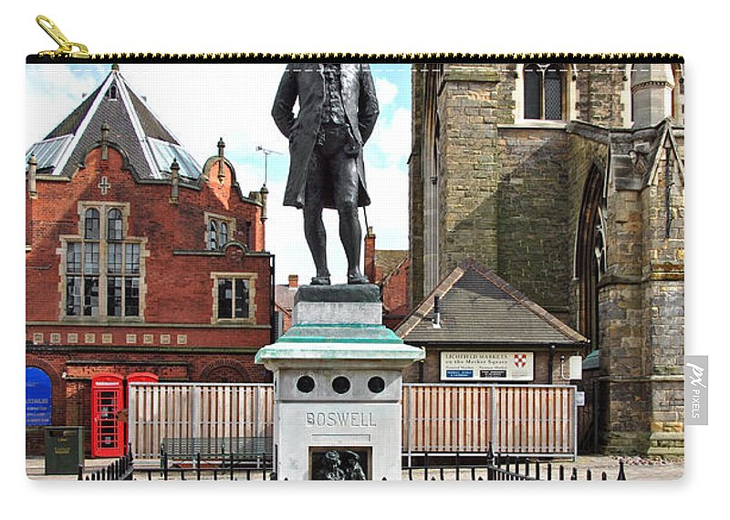 Red Carry-all Pouch featuring the photograph James Boswell Statue - Lichfield by Rod Johnson