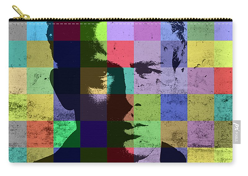 James Dean Carry-all Pouch featuring the mixed media James Dean Actor Hollywood Pop Art Patchwork Portrait Pop Of Color by Design Turnpike