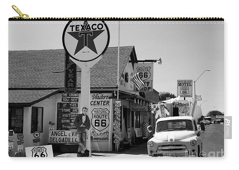 James Dean Carry-all Pouch featuring the photograph James Dean On Route 66 by David Lee Thompson