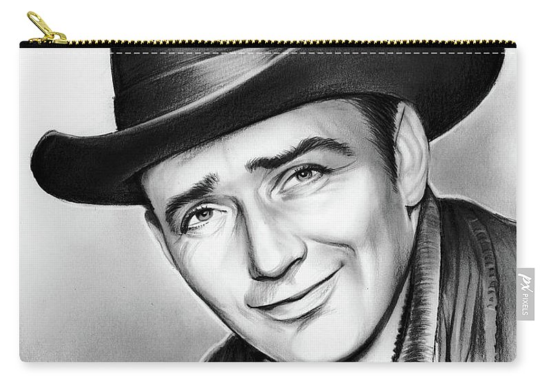 James Drury Carry-all Pouch featuring the drawing James Drury by Greg Joens