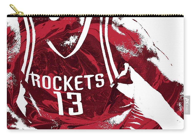James Harden Carry-all Pouch featuring the mixed media James Harden Houston Rockets Pixel Art 3 by Joe Hamilton