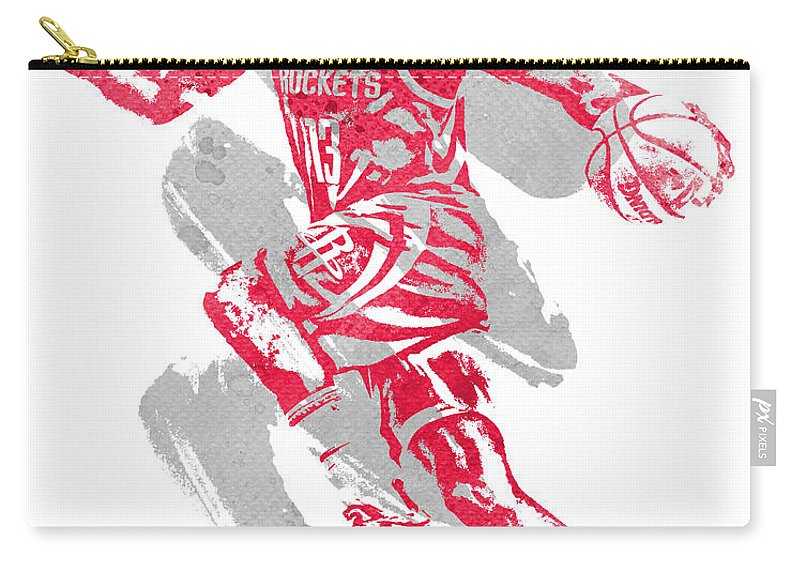 James Harden Carry-all Pouch featuring the mixed media James Harden Houston Rockets Water Color Art 2 by Joe Hamilton