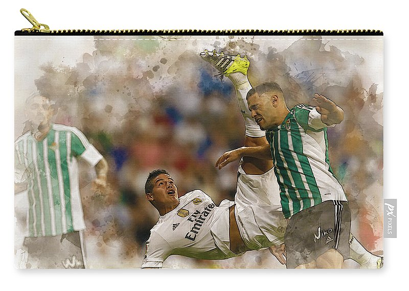 Uefa Chamipons League Carry-all Pouch featuring the digital art James Rodriguez Performs An Overhead Kick by Don Kuing