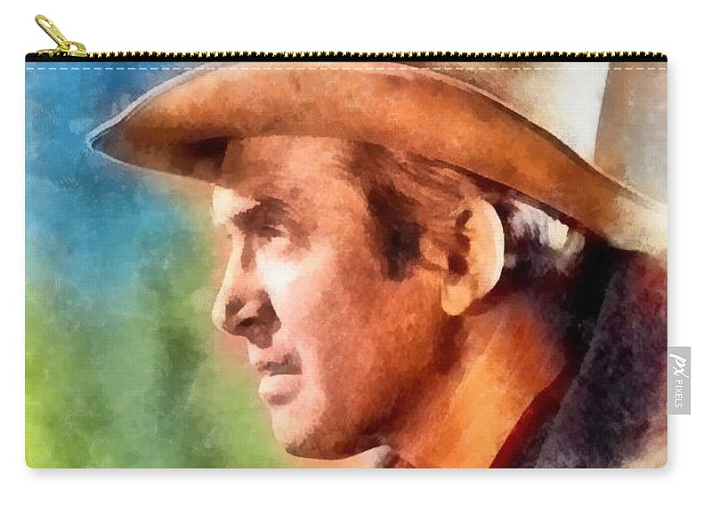 Hollywood Carry-all Pouch featuring the painting James Stewart, Vintage Hollywood Legend by Frank Falcon