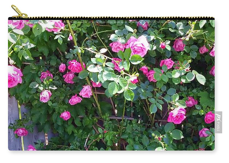Roses Carry-all Pouch featuring the photograph Jane's Rose Bush by Sharon Wilton