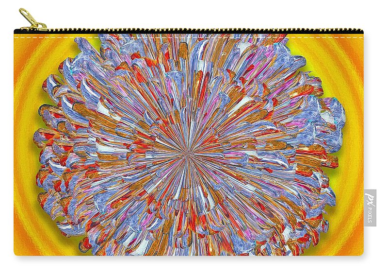 Digital Carry-all Pouch featuring the digital art Janet -- Floral Disk by Mark Sellers