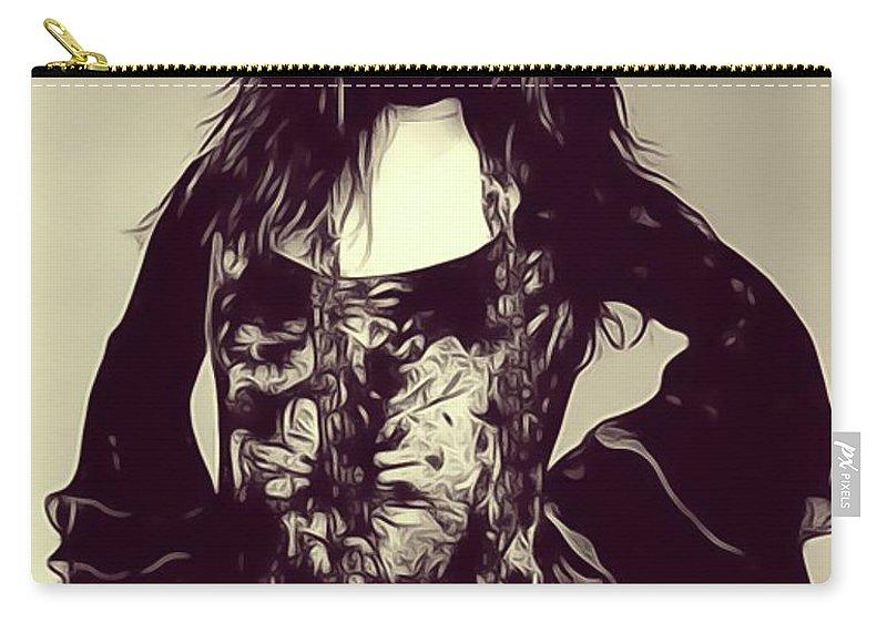 Janis Carry-all Pouch featuring the digital art Janis Joplin, Music Legend by John Springfield