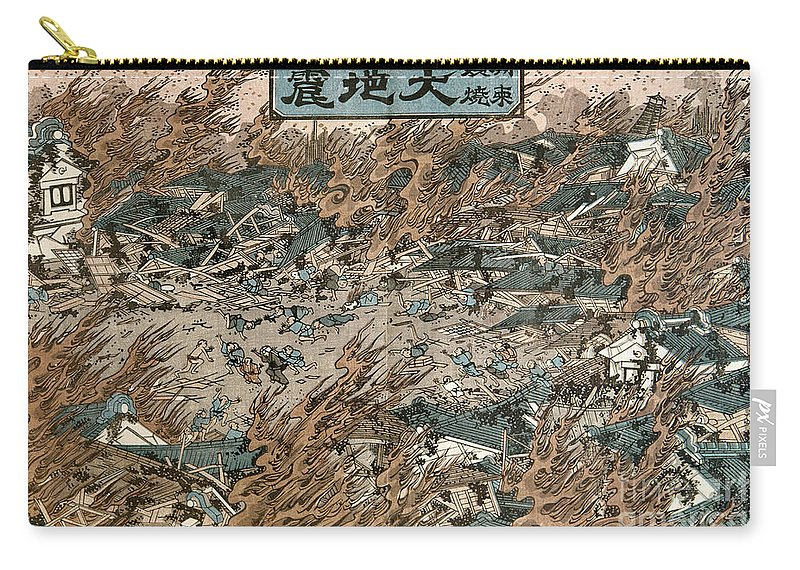 1855 Carry-all Pouch featuring the photograph Japan: Earthquake, 1855 by Granger