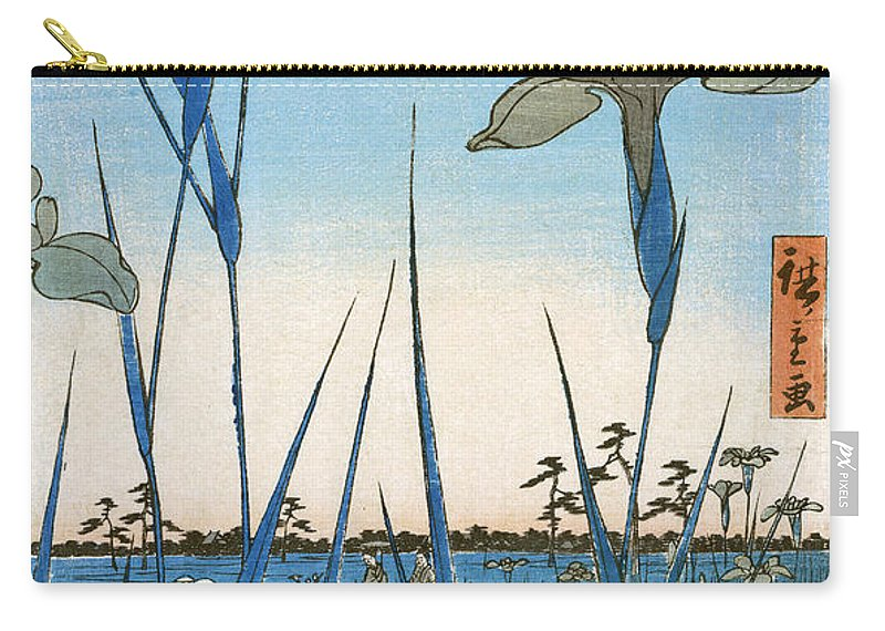 1857 Carry-all Pouch featuring the photograph Japan: Iris Garden, 1857 by Granger