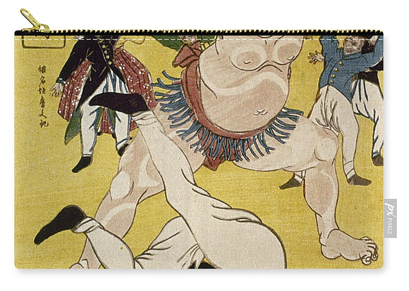 1861 Carry-all Pouch featuring the photograph Japan: Sumo Wrestling by Granger