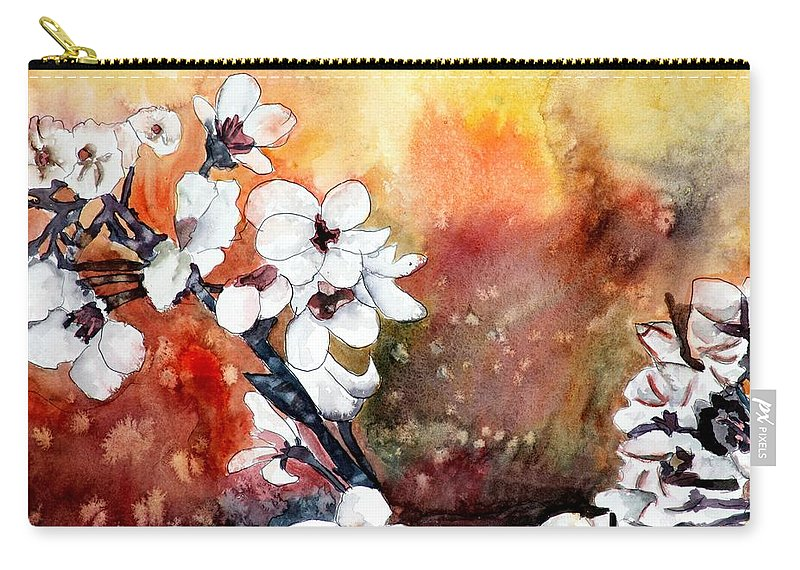 Watercolor Carry-all Pouch featuring the painting Japanese Cherry Blossom Abstract Flowers by Derek Mccrea