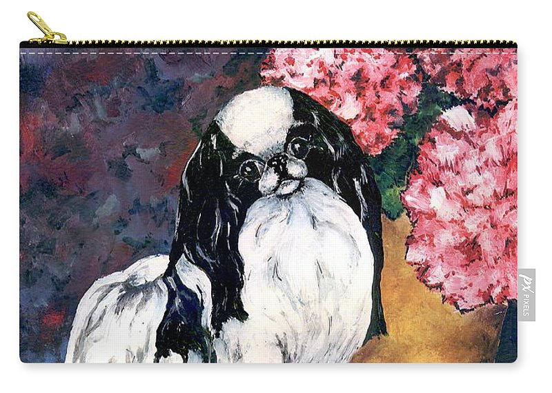 Japanese Chin Carry-all Pouch featuring the painting Japanese Chin And Hydrangeas by Kathleen Sepulveda
