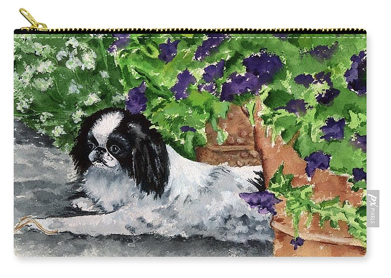 Japanese Chin Carry-all Pouch featuring the painting Japanese Chin Puppy and Petunias by Kathleen Sepulveda