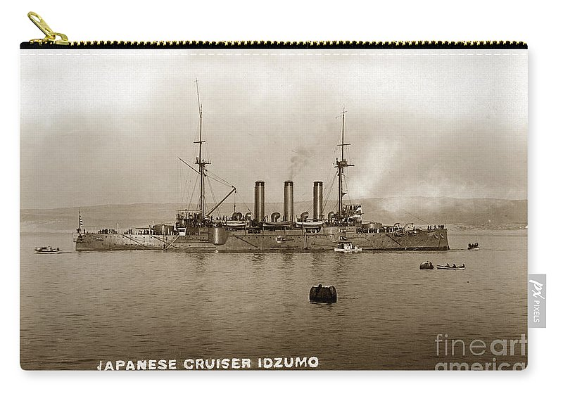Japanese Cruiser Carry-all Pouch featuring the photograph Japanese Cruiser Izumo In Monterey Bay December 1913 by California Views Archives Mr Pat Hathaway Archives