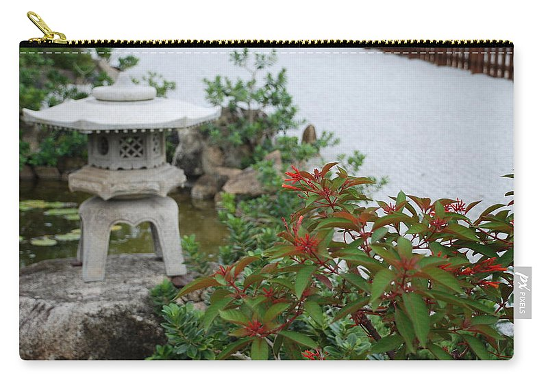 Rocks Carry-all Pouch featuring the photograph Japanese Garden Lantern by Rob Hans