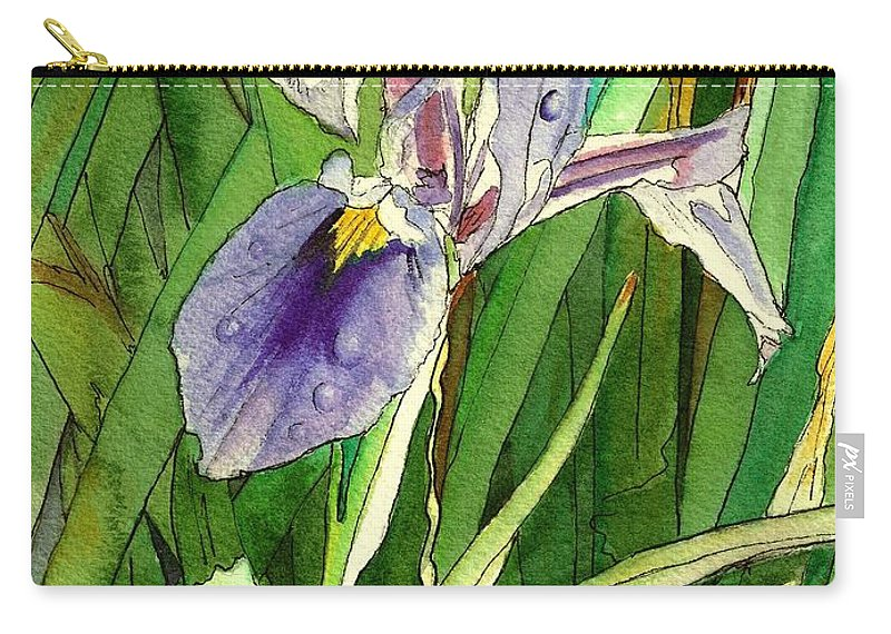 Japanese Iris Carry-all Pouch featuring the painting Japanese Iris by Marionette Taboniar