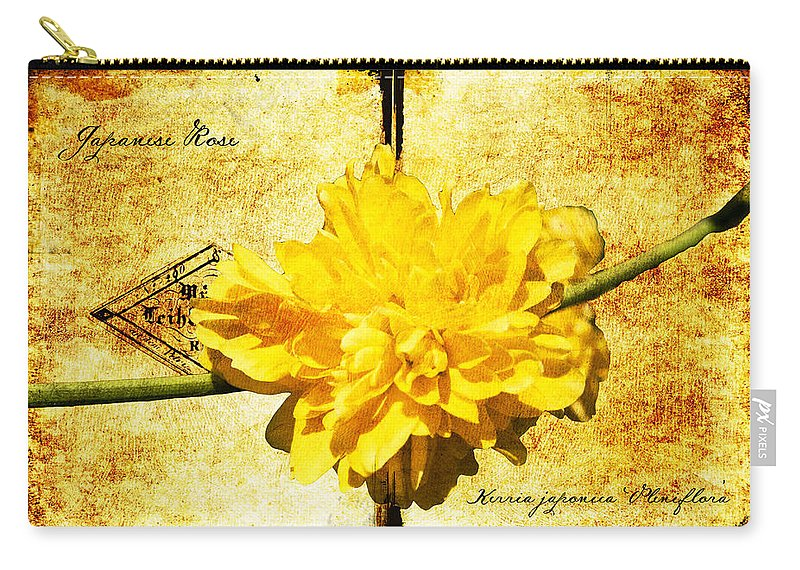 Kerria Carry-all Pouch featuring the digital art Japanese Rose by Teresa Mucha