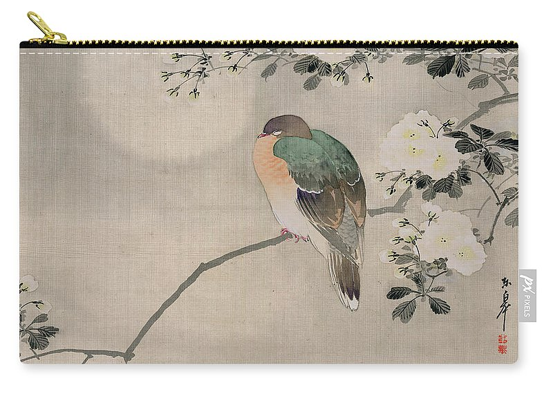 Japanese Silk Painting Of A Wood Pigeon Carry-all Pouch