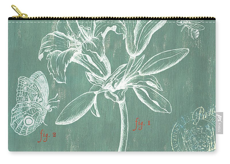 Floral Carry-all Pouch featuring the drawing Jardin Botanique Aqua by Debbie DeWitt