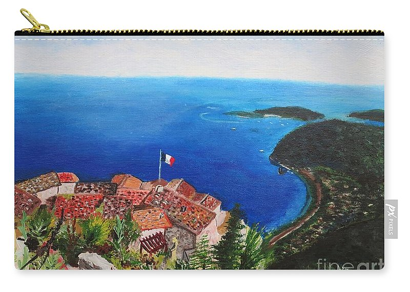 Blue Carry-all Pouch featuring the painting Jardin Exotique, Eze, France by CE Dill