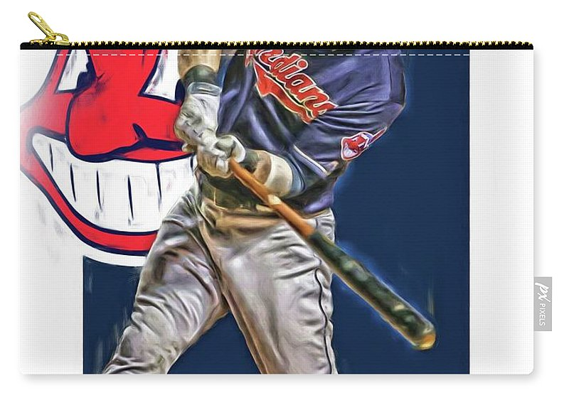 Jason Kipnis Carry-all Pouch featuring the mixed media Jason Kipnis Cleveland Indians Oil Art by Joe Hamilton