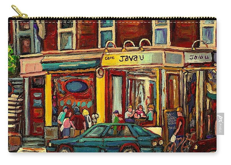 Java U Coffee Shops Carry-all Pouch featuring the painting Java U Coffee Shop Montreal Painting By Streetscene Specialist Artist Carole Spandau by Carole Spandau