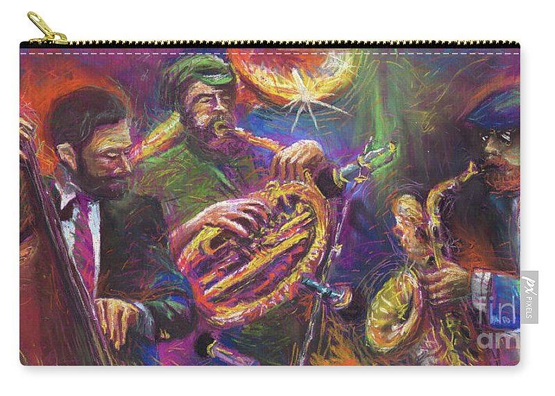 Jazz Carry-all Pouch featuring the painting Jazz Jazzband Trio by Yuriy Shevchuk