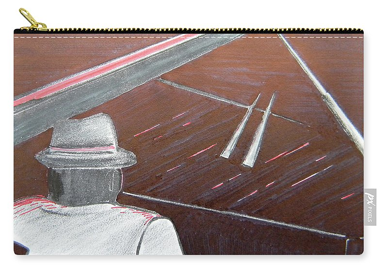 Jazz Carry-all Pouch featuring the painting Jazz Pianist At The Brigantine Room by Marwan George Khoury