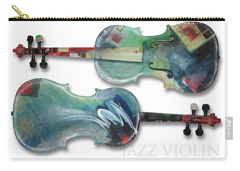 Violin Carry-all Pouch featuring the painting Jazz Violin - Poster by Tim Nyberg