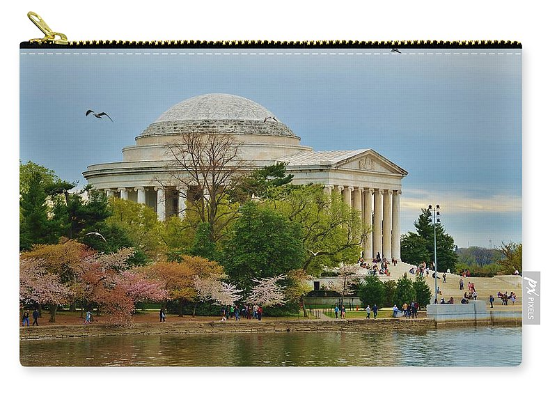 Washington Carry-all Pouch featuring the photograph Jefferson Memorial, Springtime In Dc Is When Things Bloom, Like The Japanese Cherry Trees by William Bartholomew