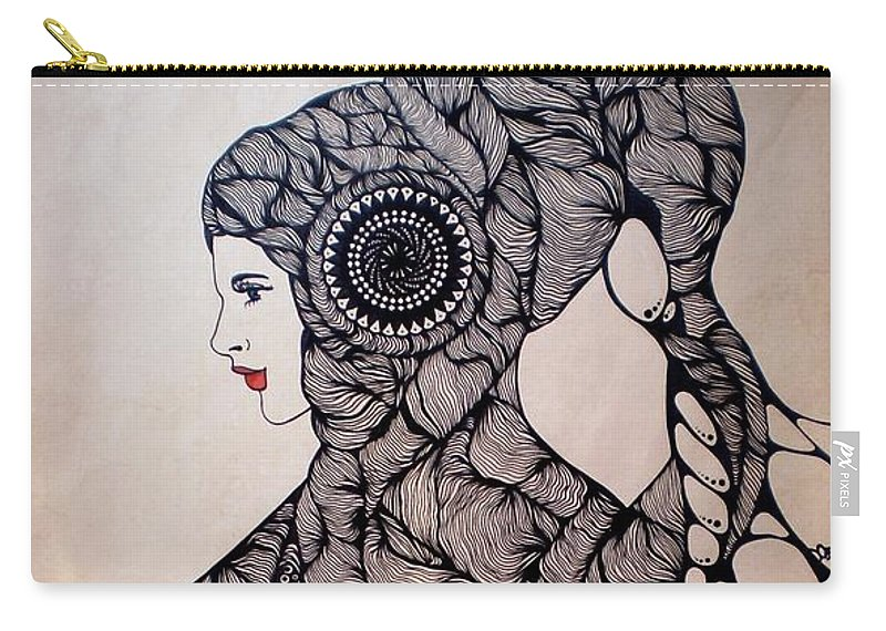 Martina Di Bella Carry-all Pouch featuring the drawing Jelly Queen by Martina Di Bella