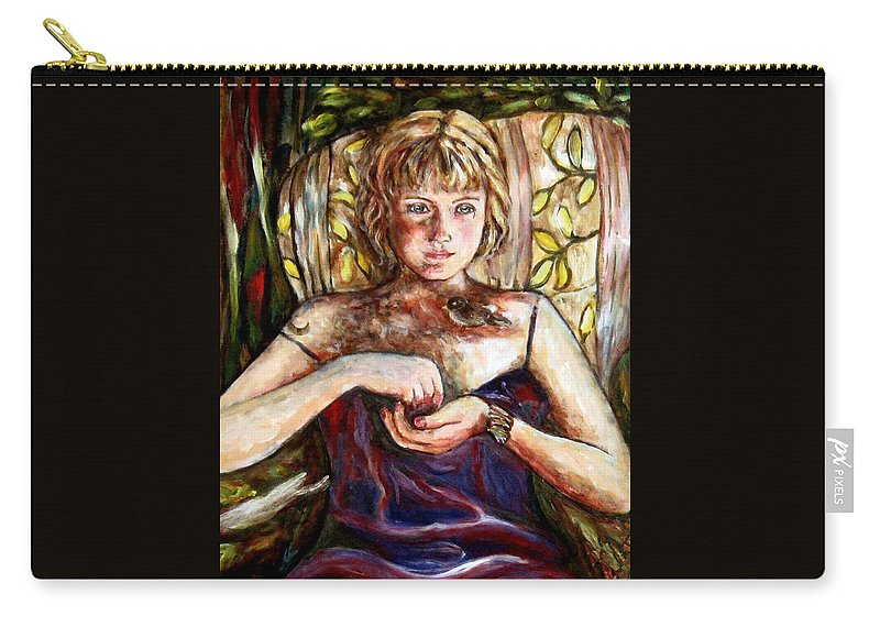 Morning Light Carry-all Pouch featuring the painting Girl And Bird Painting by Frances Gillotti